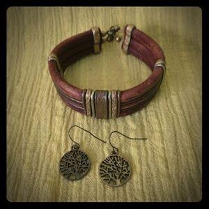 Tree of Life earrings / leather bracelet
